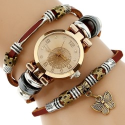 Montre avec Triple Bracelet et Breloque Papillon pour Femme