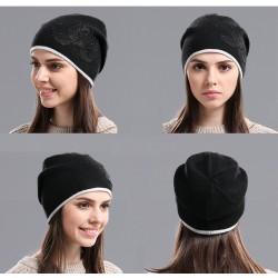 Knitted Wool Flower Pattern Warm Hat