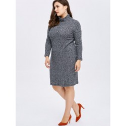 Plus Size High Neck Casual Winter Dress