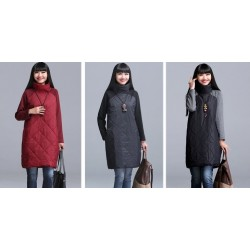 Turtleneck Loose Patchwork Tunic Winter Dress