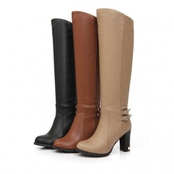Lamb Wool High Heel Knee Boots