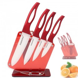 Zirconia Red Handle Ceramic Kitchen Knifes With Holder Set