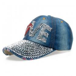Chapeau de Baseball Vintage en Jeans avec Strass