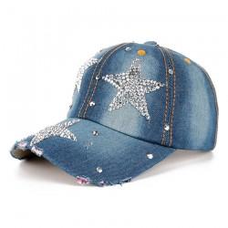 Fashionable cotton / jeans baseball cap with rhinestones stars