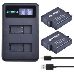 For 2Pcs 1600mAh GoPro Hero 5 GoPro Hero 6 Battery Batterie LCD Dual USB Charger For GoPro Hero5 6