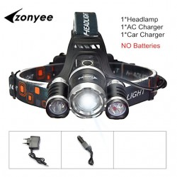 Forehead Headlight Zoom Flashlight Torch 3 XML-T6 LED Lamp