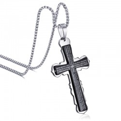 Cross with Spanish bible - stainless steel necklace - unisex