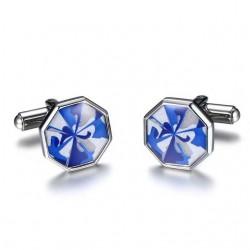 Stainless Steel Octagon Blue Cufflinks