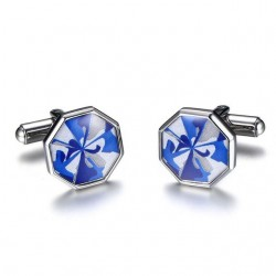 Stainless Steel Octagon Blue Cufflinks