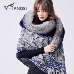 Luxe Echte Vos Bontkraag Wollen Winter Sjaal Poncho