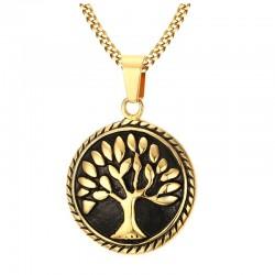 Collier pendentif rond arbre de la vie acier inox