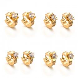 Gold Zircons Stud Earrings