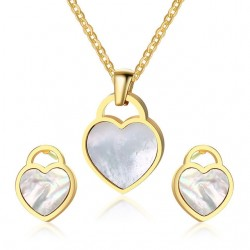 Heart Shape Necklace & Earrings Jewelry Set