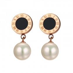 Boucles d'Oreilles avec Perles et Chiffres Romaines
