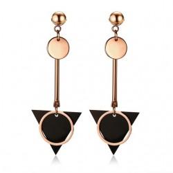 Vnox Geometry Double Circle Triangle Plate Drop Earrings for Women Stainless Steel Long Danlge Earri