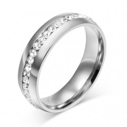 Gold - silver classic ring with zirconia