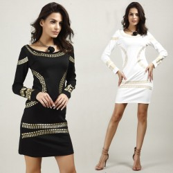 Gold Sequins Straight Slim Elegant Dress