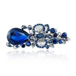 Big Blue Crystal Flower Hair Clip Hairpin