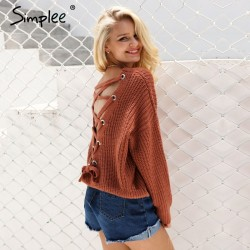 Backless Knitting Pullover Lace Up Sweater