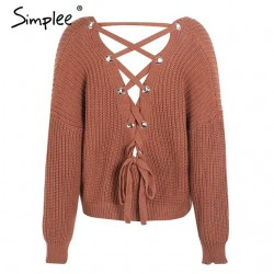 Backless Lace-Up pullover - sweater knitted