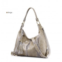 Genuine Leather Crocodile Pattern & Tassels Shoulder Bag