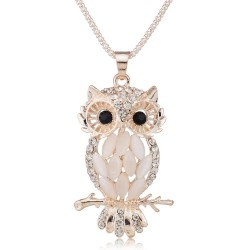 Crystal owl pendant necklace