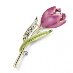Élégante broche tulipe en cristal