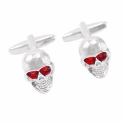 Rote Kristallaugen Skelett Kopf Manschettenknöpfe