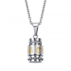 Rotatable mantra pendant with stainless steel necklace
