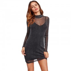 Glitter Mesh 2 In 1 Mini Dress