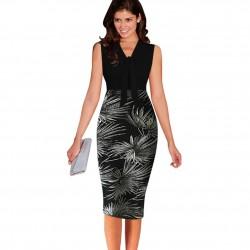 Leaf Print Elegant Patchwork Dress