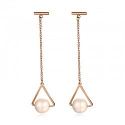 Triangle & Pearl Long Earrings