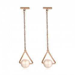 Vnox Triangle Long Drop Earrings for Women Simulated Pearl Rose Stainless Steel Tiny Bar Geometry Da