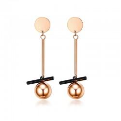 Vnox Rose Gold-color Earrings for Women Trendy Stainless Steel Long Drop Earrings Boucles Doreilles