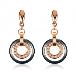 Vnox Rose Gold-color Earrings for Women Shiny CZ Stone Drop Earrings Party Jewelry Female Birthday G