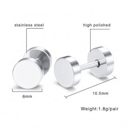 Simple Silver Round Earrings Unisex