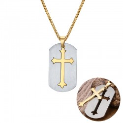 Removable cross pendant with stainless steel necklace