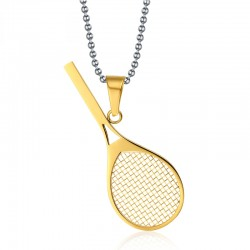 Tennis racket pendant with necklace