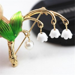 Lily Of The Valley & Pearl Brooch