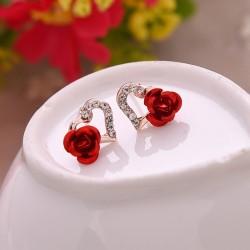 Boucles d'oreilles bouton coeur et rose avec cristaux