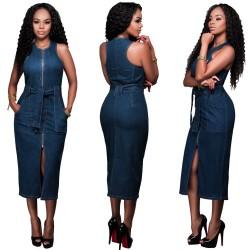 Jeans Zipper Slim Dress