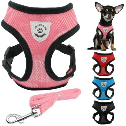 Puppy & dog breathable nylon mesh harness & leash set