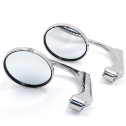Universal motorcycle aluminum chrome round bar-end mirrors