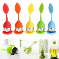 Leaf shaped tea infuser - silicone strainer - teapot with drip tray