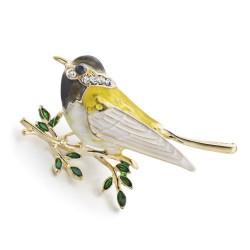 Oriole bird rhinestone & enamel brooch