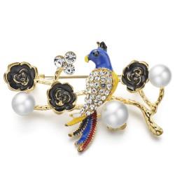 Parrot - flower & pearl crystal brooch