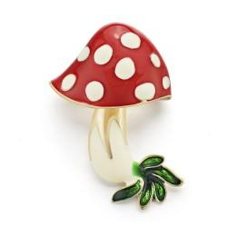 Red enamel mushroom crystal brooch