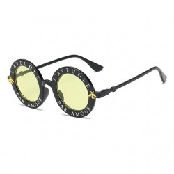 Letters & little bee retro round sunglasses unisex