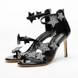 Crystal stars high heel sandals