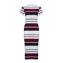 Striped slim pencil dress midi